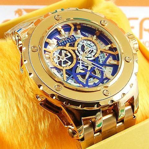 b13091dfdc0 Relógio Invicta Reserve Funcional Dourado Pulseira Aço Masculino À prova D´ água