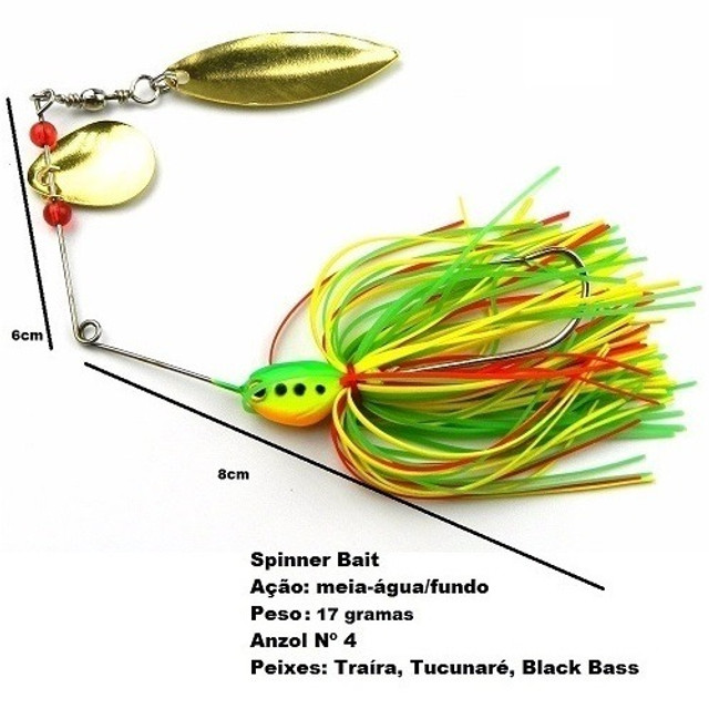 Isca Spinnerbait Spinner Bait Para Pesca Esportiva de Traíra Tucunaré Black Bass - Foto 6