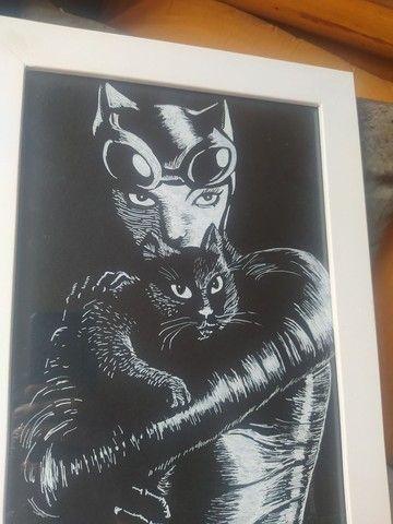 Quadro mulher gato, litogravura - Foto 2