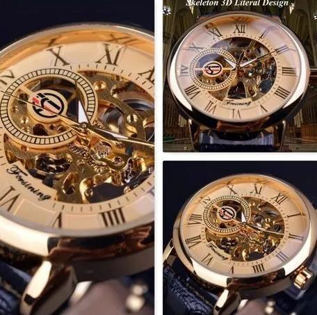 7013a31694a Relógio Masculino Mecânico Forsining Skeleton Dourado - Bijouterias ...