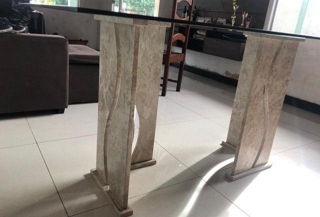 Vendo mesa de vidro com pés de mármore  - Foto 4