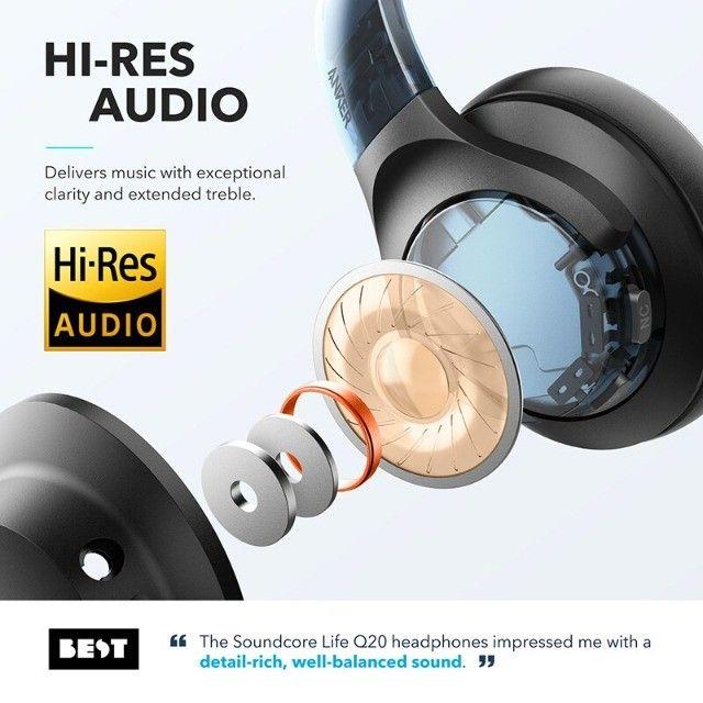 Fone de Ouvido Bluetooth Com Cancelamento de Ruído Ativo Anker Soundcore Life Q20 + Bag - Foto 3