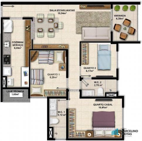 Apartamento c/3 quartos à venda, 77 m² por R$ 359.504 - Eusébio - Eusébio/CE - Foto 9
