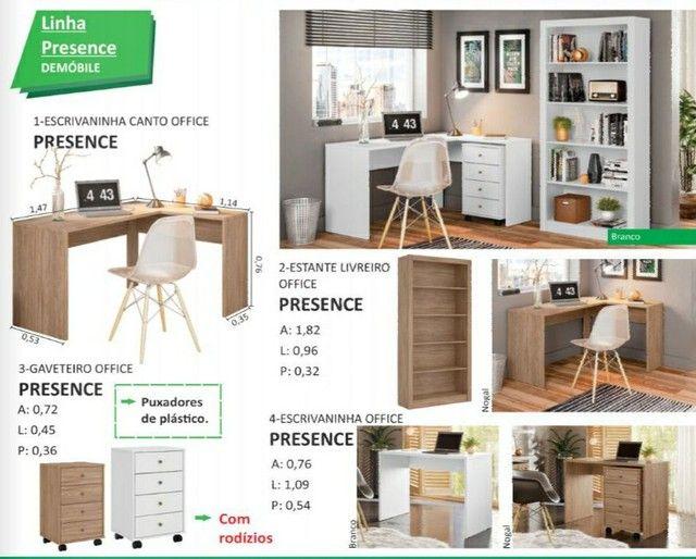 Escrivaninha mesa de escritório em formato L (branco e nogal) entrega gratuita - Foto 2