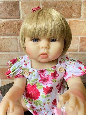 Bebê Reborn toda em Silicone realista loira olhos azuis nova Original (aceito cartão  - Foto 5