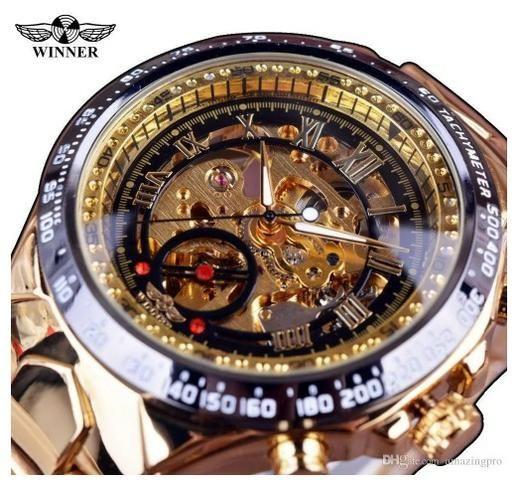 caa7fe116ee Relógio Masculino Dourado Luxo Inox Automático Esqueleto ...