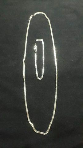 cordão e pulseira laminado e banhado a prata com a númeração 950 - Foto 2
