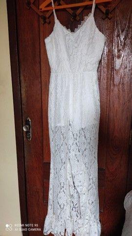 """02 macacão branco TM """"M"""" 01 Vestido para casamento em cartório TM """"M"""""""