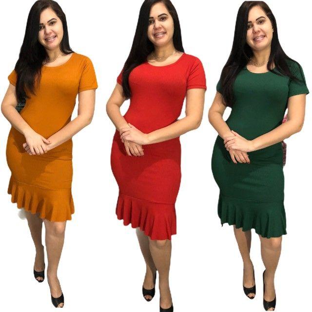 Kit 10 vestidos evangélicos malha canelado com babado  - Foto 6