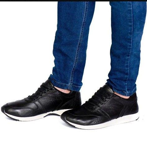 Sapatênis masculina em couro legítimo - Foto 2