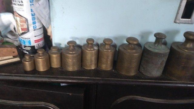 Pesos de bronze balança antiga kit 8 peças jogo