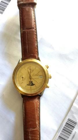 Relógio marca fusao automático cronógrafo face de lua