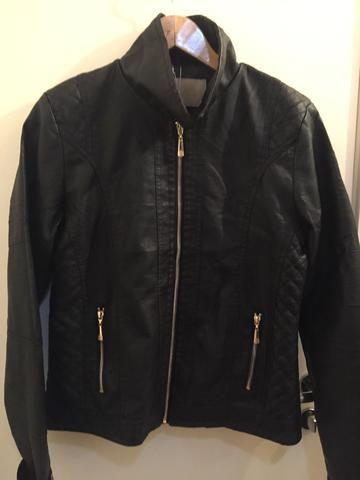 Jaqueta de couro sintético feminino