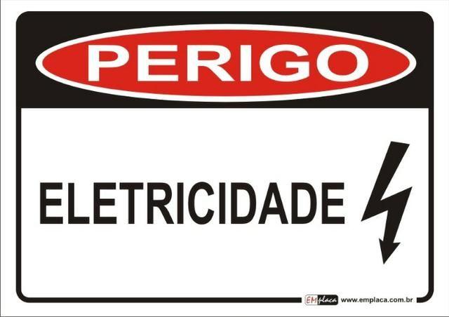 Placa De Sinalização Perigo Eletricidade 30x20 Novo Garantia