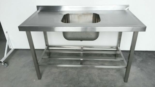 Pia Inox industrial com 1 cuba e prateleira gradeada - Foto 2