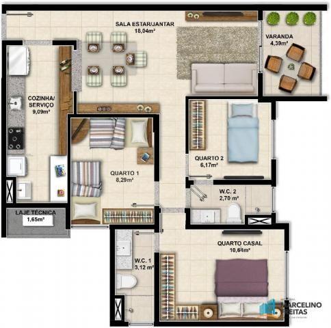 Apartamento c/3 quartos à venda, 77 m² por R$ 359.504 - Eusébio - Eusébio/CE - Foto 12