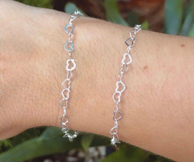 Conjunto cordão e pulseira em prata 925 - Foto 4
