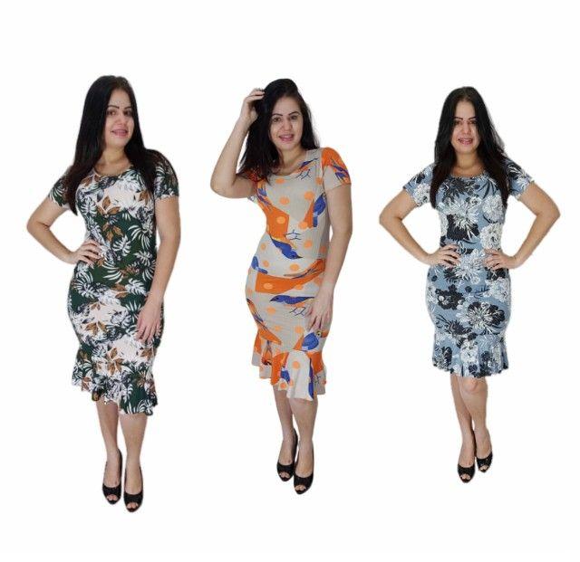 Kit 10 vestidos evangélicos malha canelado com babado  - Foto 4