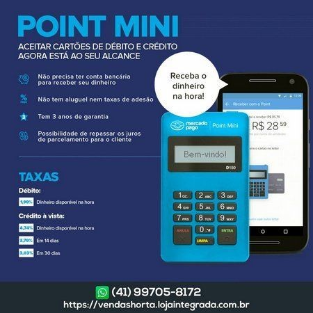Máquina de cartão Bluetooth point Mini D150 - Foto 2