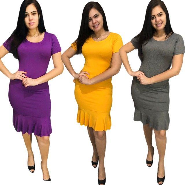 Kit 10 vestidos evangélicos malha canelado com babado  - Foto 5