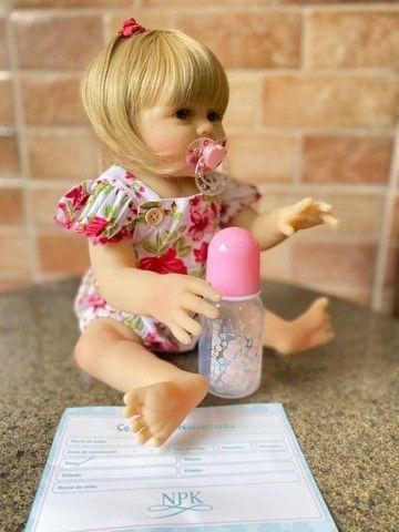 Bebê Reborn toda em Silicone realista loira olhos azuis nova Original (aceito cartão  - Foto 2