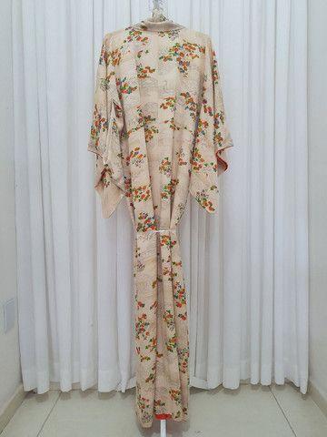 Kimono vintage japones de seda importado do Japão  - Foto 6