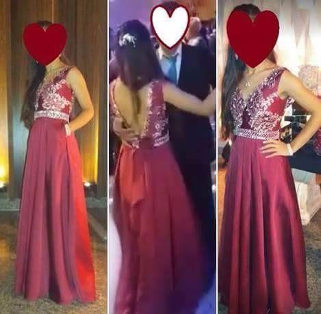Vestido de festa luxo Cor Marsala