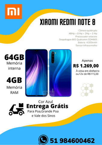 Xiaomi Redmi Note 8 64GB,Note 9Pro 128GB,Note 9S 128GB-NOVO-LACRADO-VERSAO GLOBAL - Foto 4