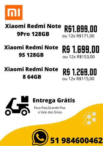 Xiaomi Redmi Note 8 64GB,Note 9Pro 128GB,Note 9S 128GB-NOVO-LACRADO-VERSAO GLOBAL