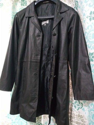 Casaco feminino de couro 7/8 preto tamanho M - R$ 70,00 - Foto 2