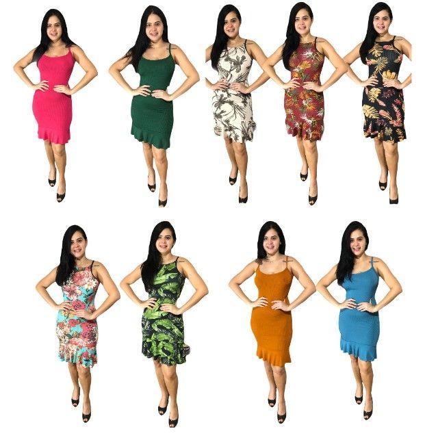 Kit 10 vestidos evangélicos malha canelado com babado  - Foto 3