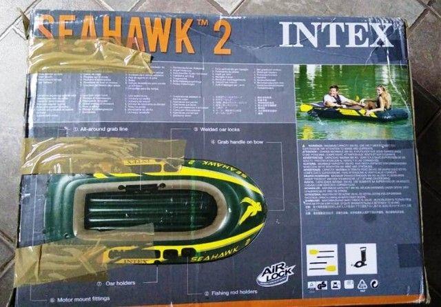 Barco Bote Inflável Seahawk 2 P/ 2 Pessoas - 240kg Intex - nunca usado - Foto 4