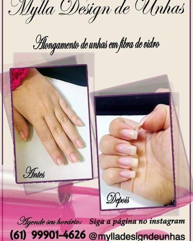 Alongamento de unhas em fibra de vidro