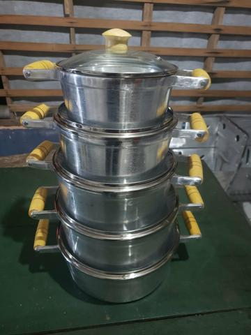 Kit de panelas de alumínio batido tampa de Vidro - Foto 3