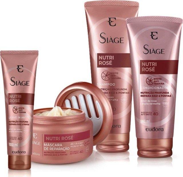 Kit Siàge Nutri Rosé Completo Shampoo + Condicionador + Máscara + leave in Eudora