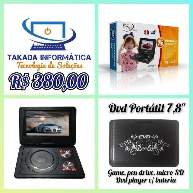 """DVD player portátil 7,8"""" (pen drive, cartão, game) Novo! Recarregável!"""