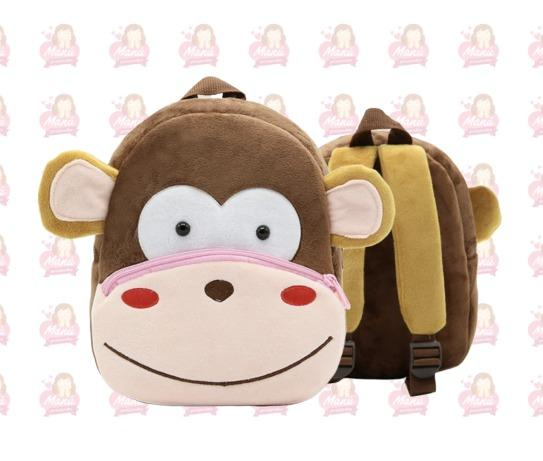 Macaco Mochila 3D Pelu?cia Infantil Escolar 25cm Super Resistente
