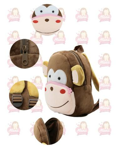 Macaco Mochila 3D Pelu?cia Infantil Escolar 25cm Super Resistente - Foto 2