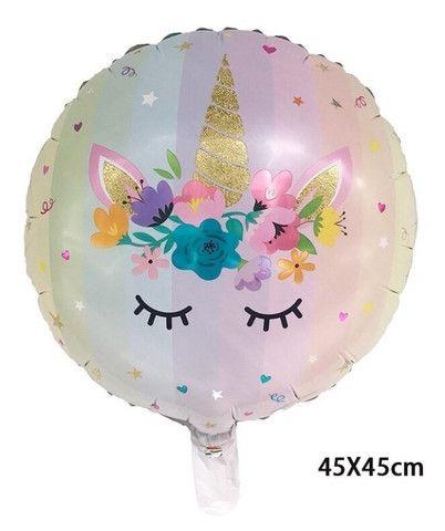 Kit 2 balões metalizados Reutilizáveis Unicórnio - Foto 2