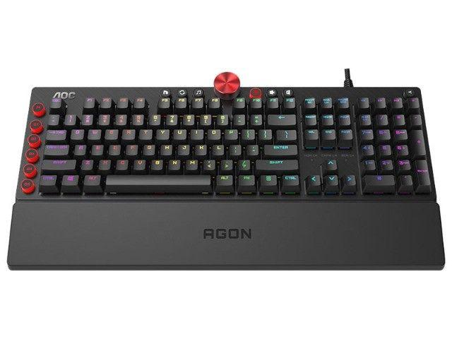 teclado gamer agon aoc (107451-3) mecanico rgb switch cherry mx blue abnt2