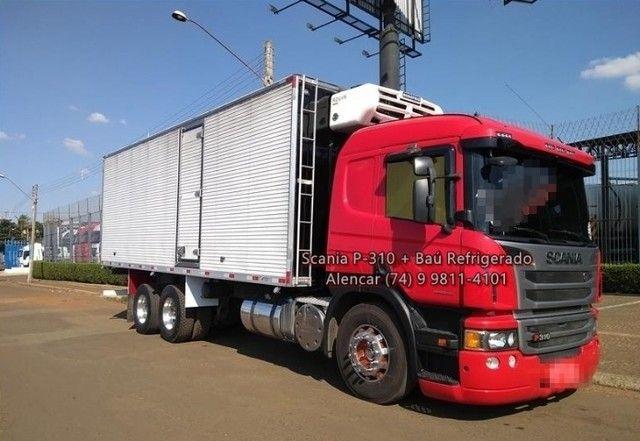 Scania P-310 bi-truck leito teto baixo, baú refrigerado com gancheiras e piso canaletado