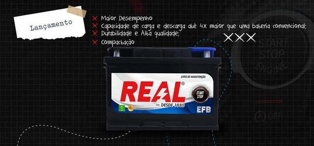 Baterias real 75ah start stop apenas R$ 420,00!