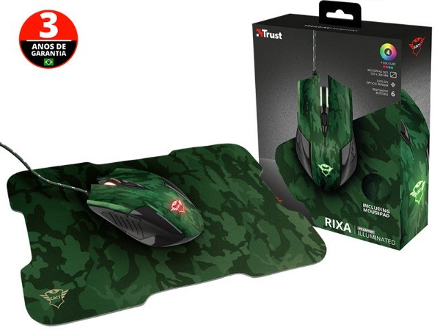 mouse gamer trust rixa camo verde camuflado 3200dpi usb com mouse pad