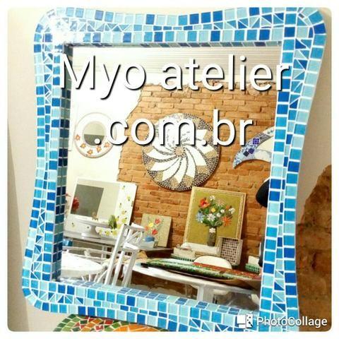 Espelho mosaico, banheiro, sala, sala de jantar, decoração