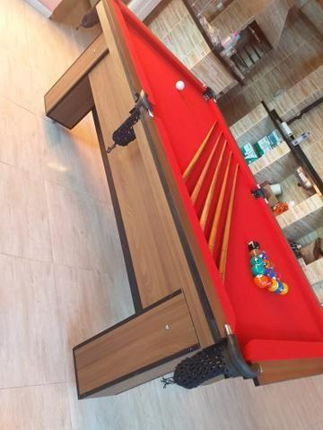 Mesa de Bilhar Quatro Pés Tecido Vermelho Tx Modelo CTF1098 - Foto 2