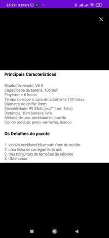 Fone de ouvido Bluetooth sem fio Lenovo HE05 - Foto 3