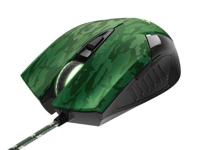 mouse gamer trust rixa camo verde camuflado 3200dpi usb com mouse pad - Foto 3