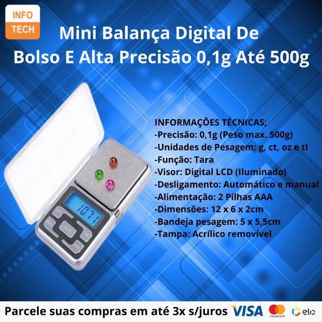 Mini Balança Digital De Bolso E Alta Precisão 0,1g Até 500g - Foto 2
