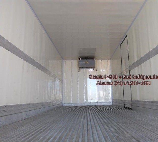 Scania P-310 bi-truck leito teto baixo, baú refrigerado com gancheiras e piso canaletado - Foto 8