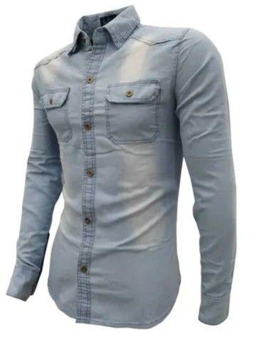 Camisa jeans Manga Longa Execultiva - Foto 2